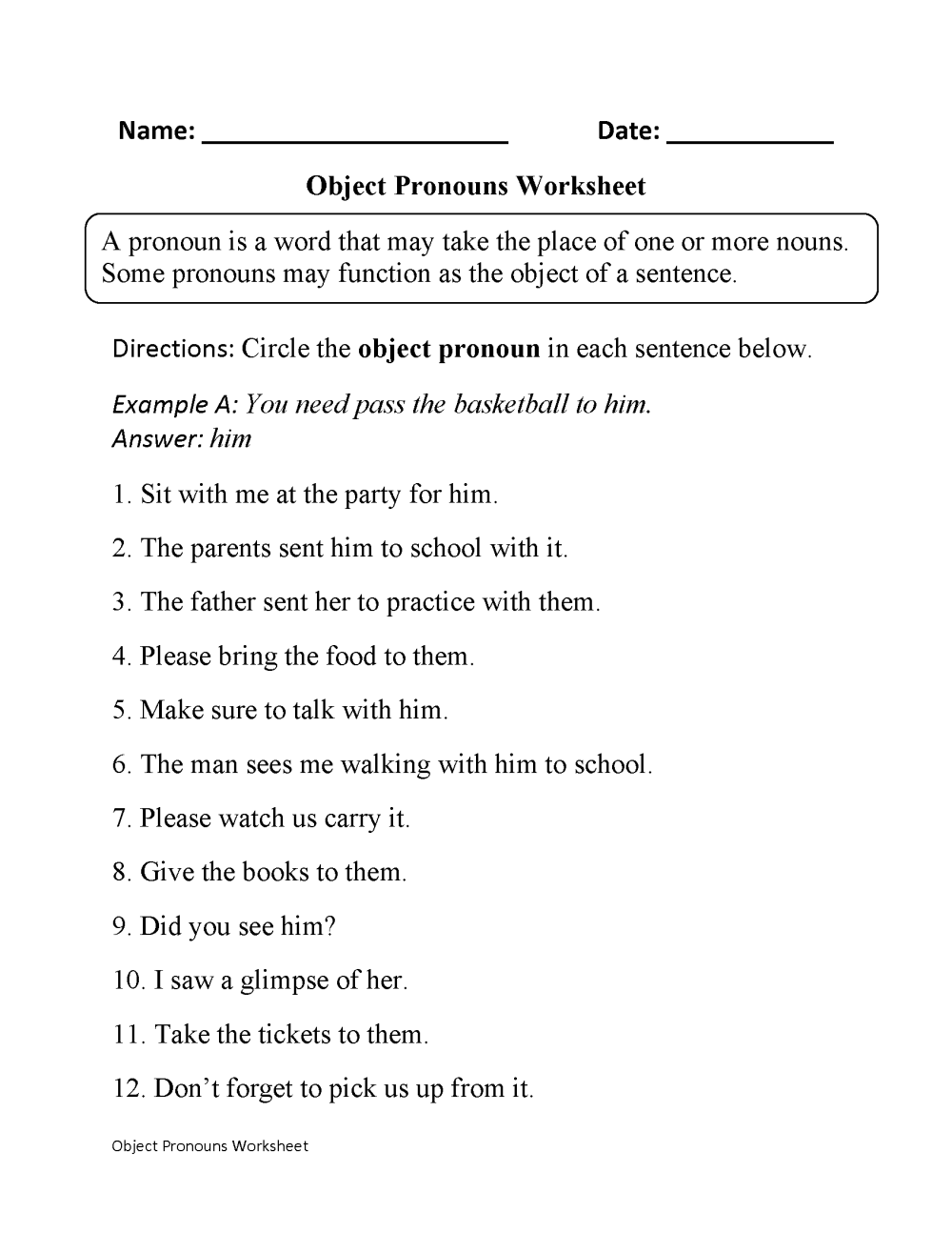 medium resolution of Subject and Object Pronouns Worksheets   Object Pronouns Worksheet