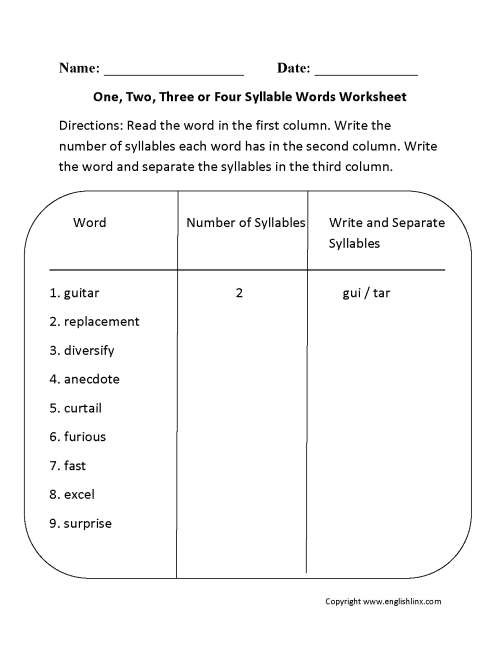 small resolution of Englishlinx.com   Syllables Worksheets