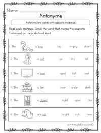 Antonyms Worksheets | Opposite Antonyms Worksheets