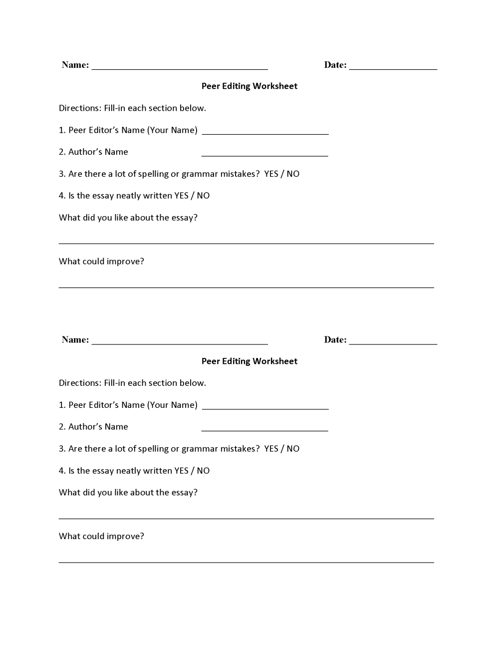 medium resolution of Writing Worksheets   Editing Worksheets