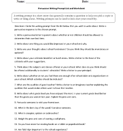 Writing Prompts Worksheets   Persuasive Writing Prompt Worksheets [ 1188 x 910 Pixel ]