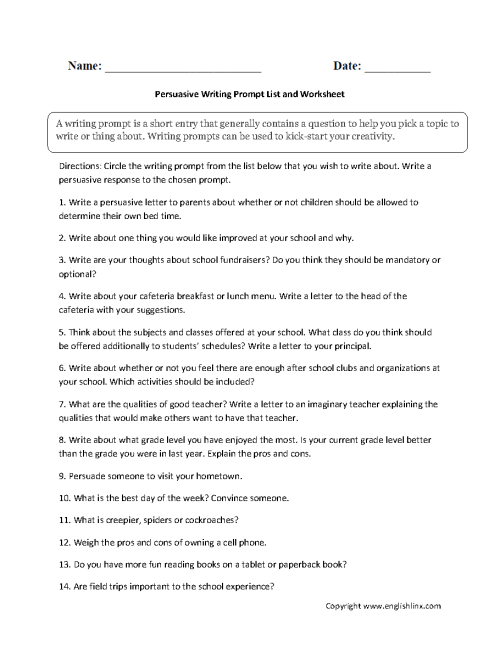 small resolution of Writing Prompts Worksheets   Persuasive Writing Prompt Worksheets