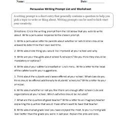 Writing Prompts Worksheets   Persuasive Writing Prompts Worksheets [ 1188 x 910 Pixel ]