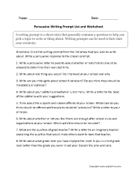 Writing Prompts Worksheets | Persuasive Writing Prompts ...
