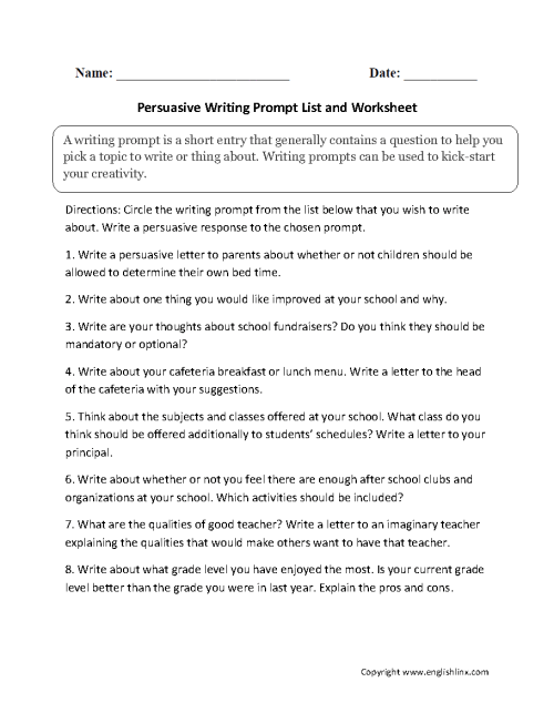 small resolution of Writing Prompts Worksheets   Persuasive Writing Prompts Worksheets