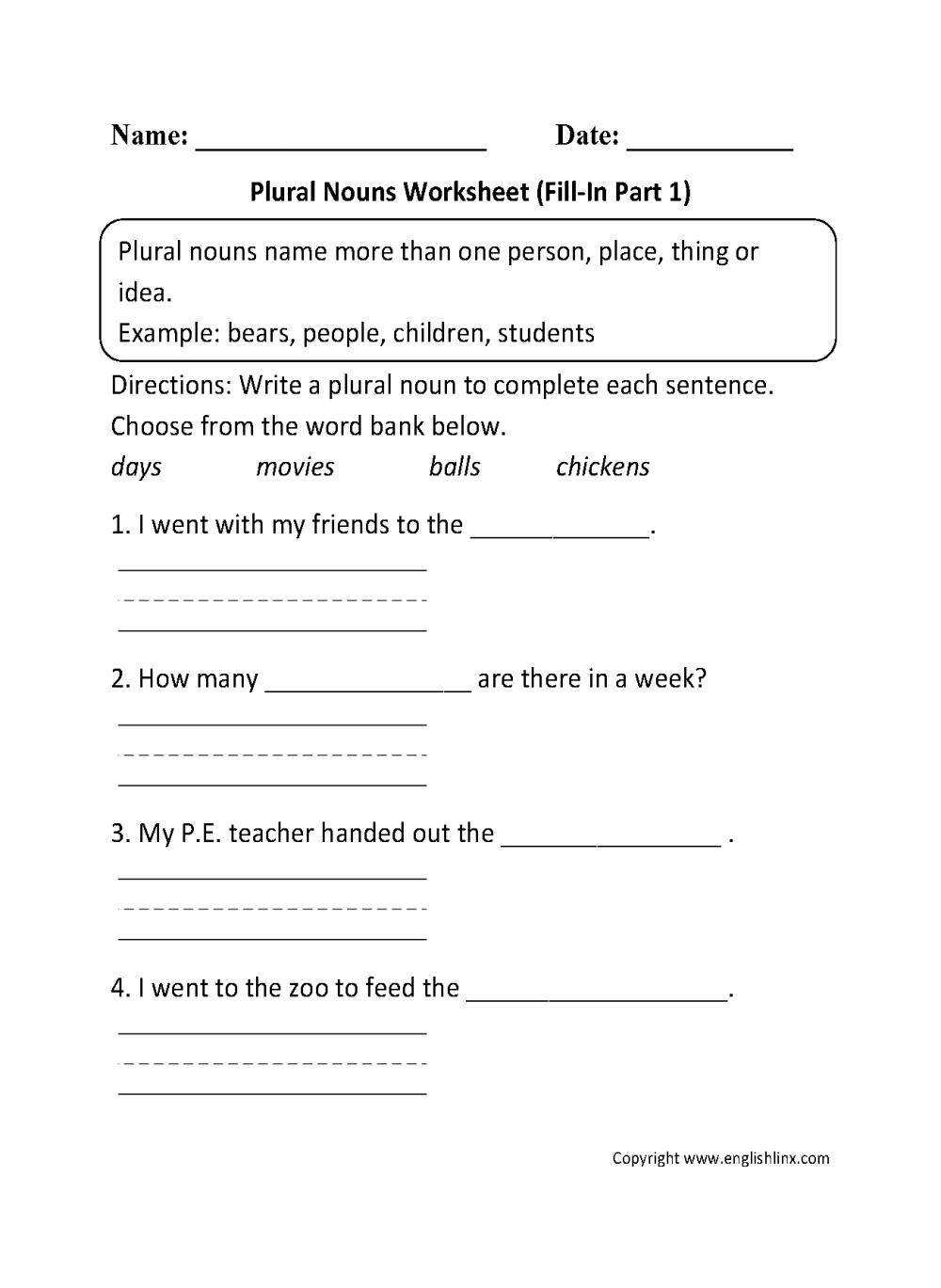 medium resolution of Nouns Worksheets   Singular and Plural Nouns Worksheets