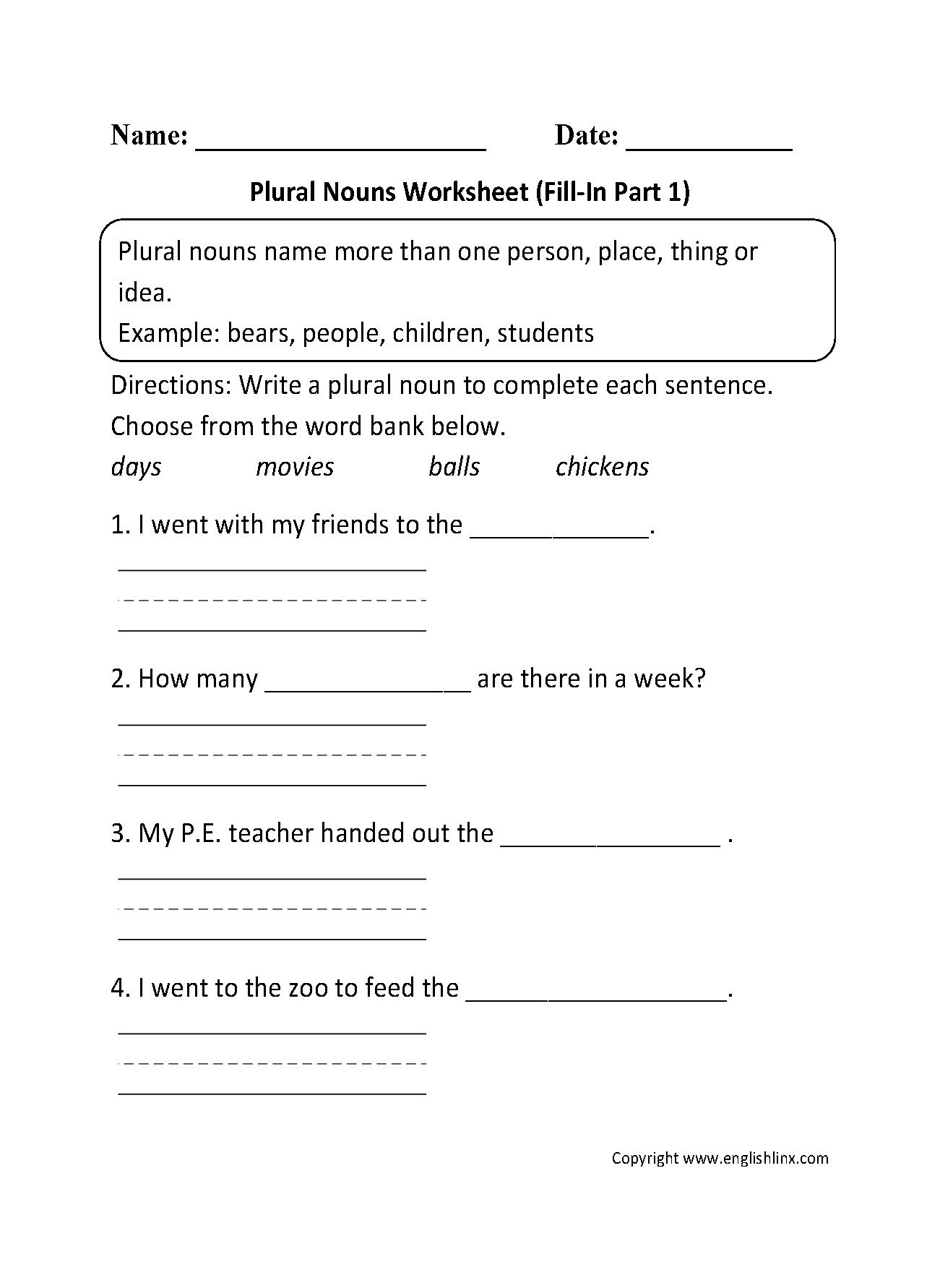 hight resolution of Nouns Worksheets   Singular and Plural Nouns Worksheets