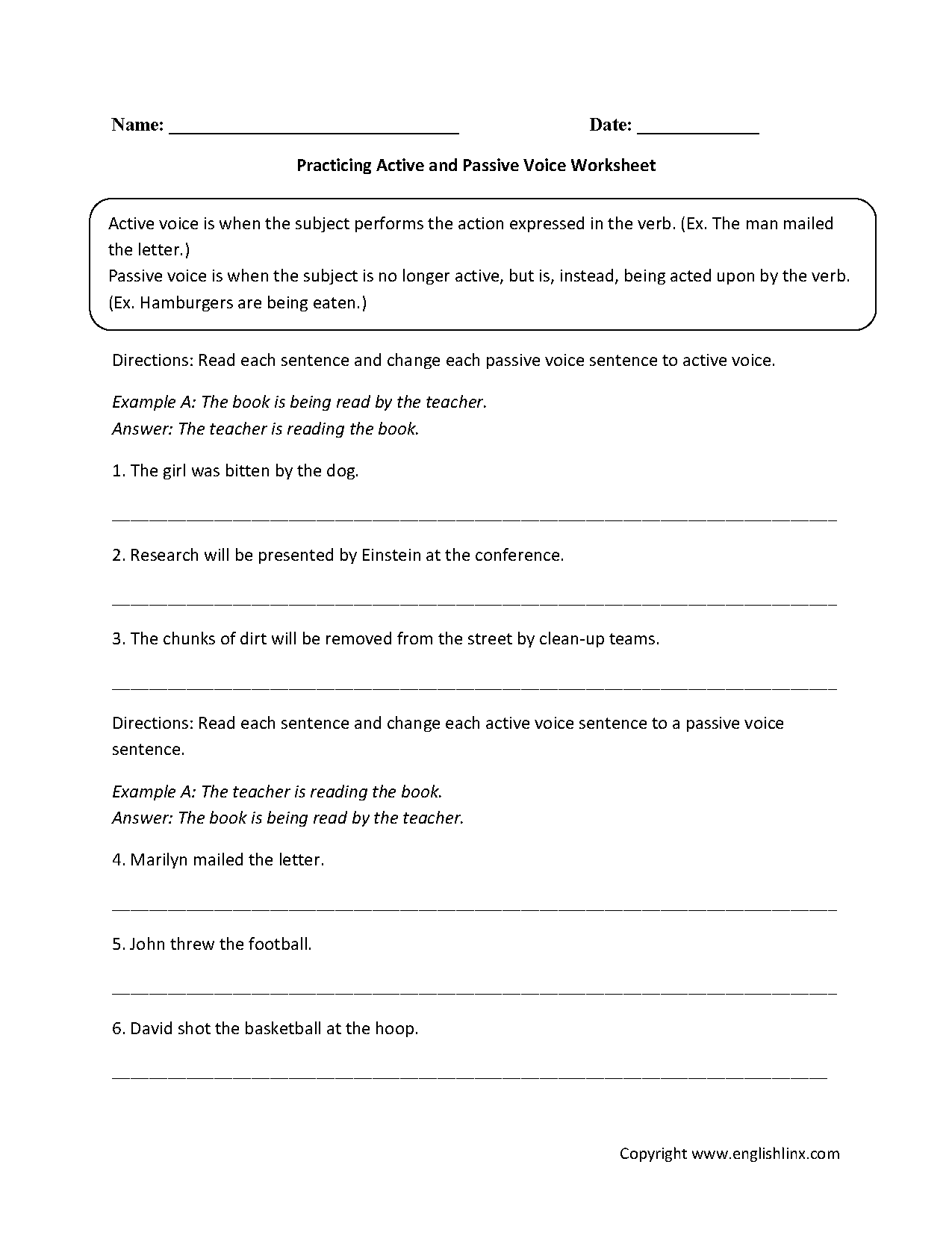 hight resolution of Active Voice Vs Passive Voice Worksheet - Promotiontablecovers