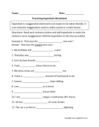 Content by Subject Worksheets | Figurative Language Worksheets