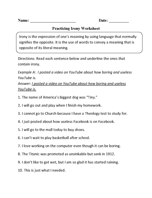 small resolution of Figurative Language Worksheets   Irony Worksheets