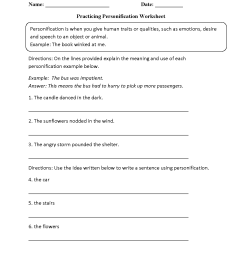 Figurative Language Worksheets   Personification Worksheets [ 1650 x 1275 Pixel ]