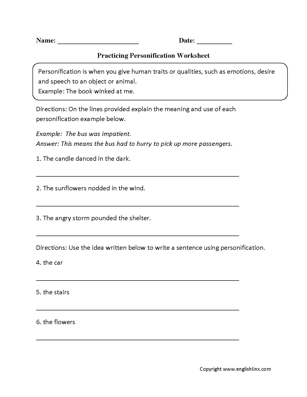hight resolution of Figurative Language Worksheets   Personification Worksheets