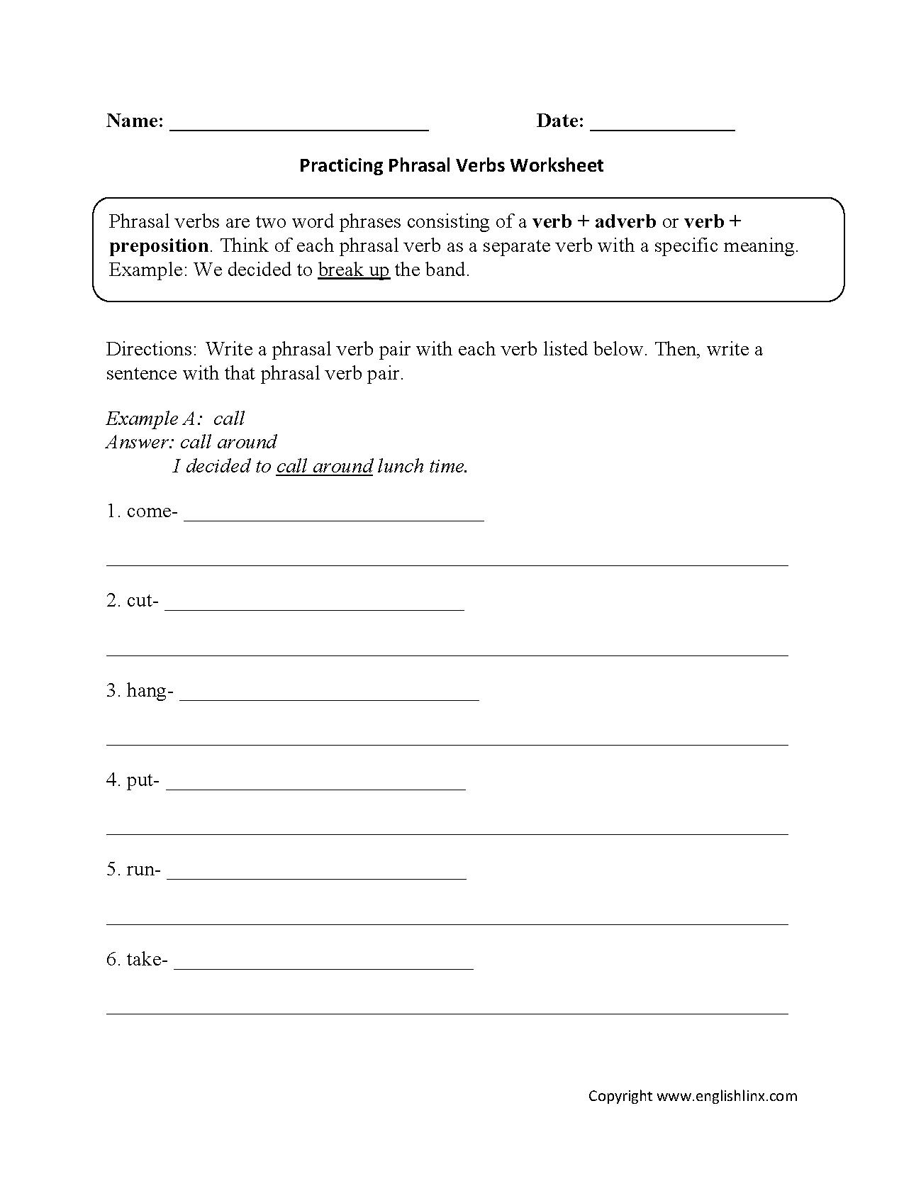 hight resolution of Verbs Worksheets   Phrasal Verbs Worksheets