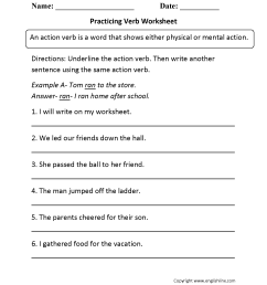 Parts Speech Worksheets   Verb Worksheets [ 2200 x 1700 Pixel ]