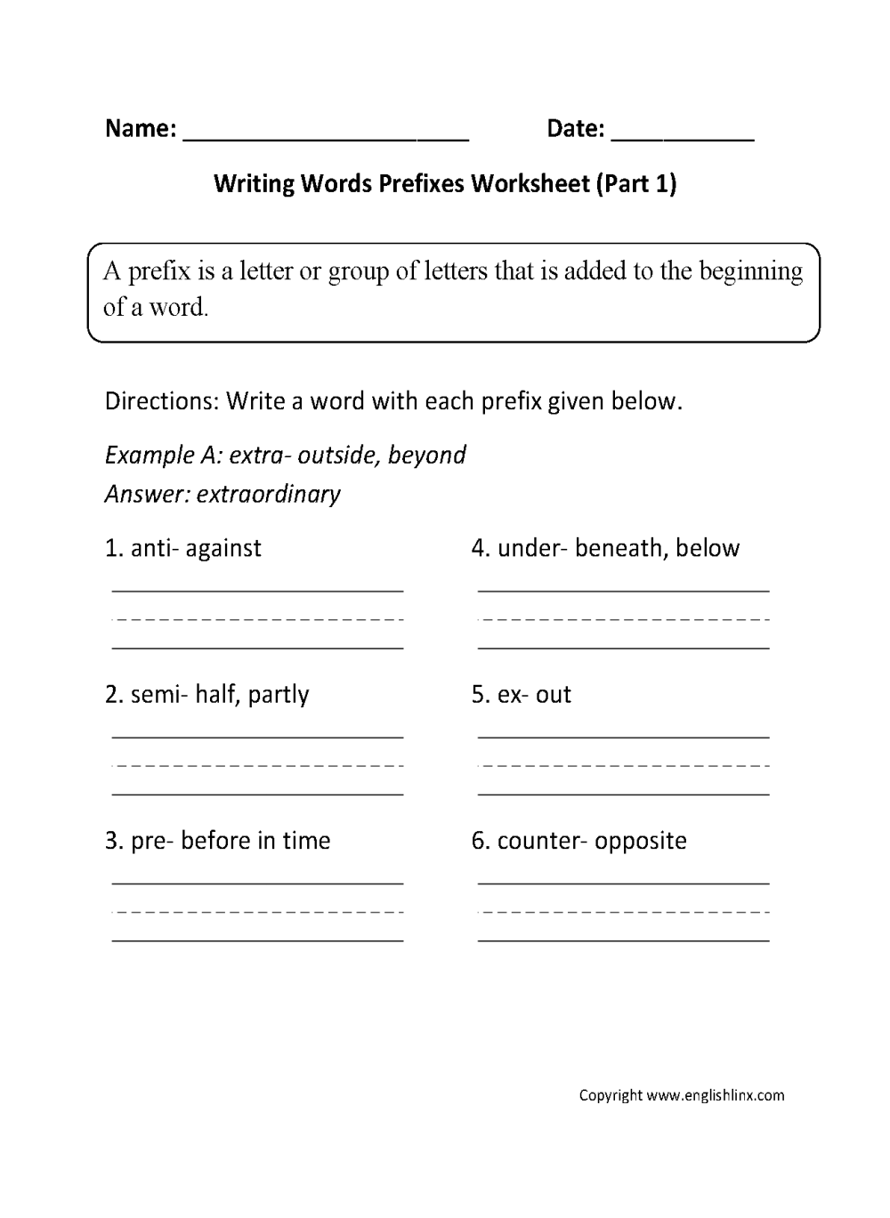 medium resolution of Prefixes Worksheets   Writing Words Prefixes Worksheet Part 1