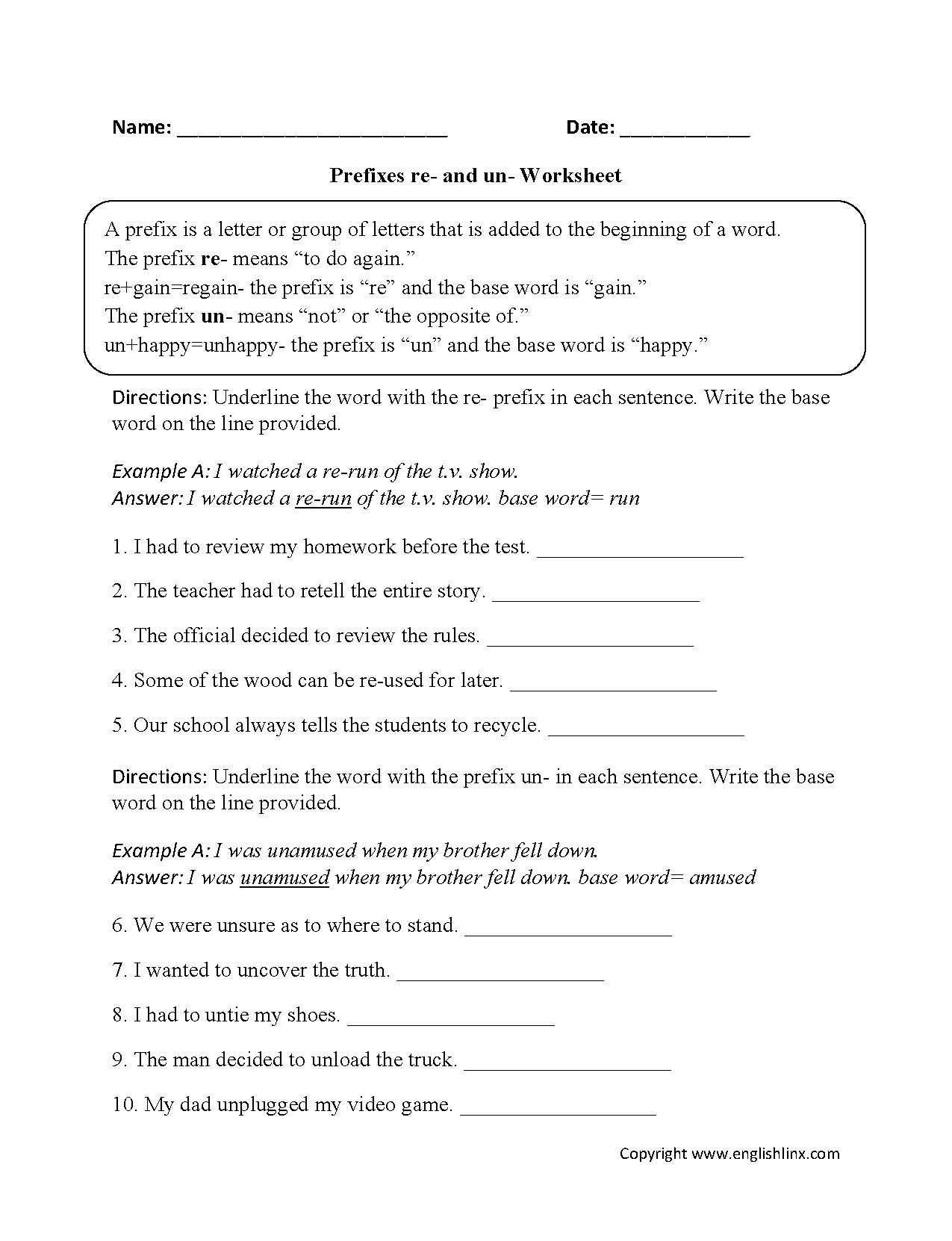 hight resolution of Englishlinx.com   Prefixes Worksheets