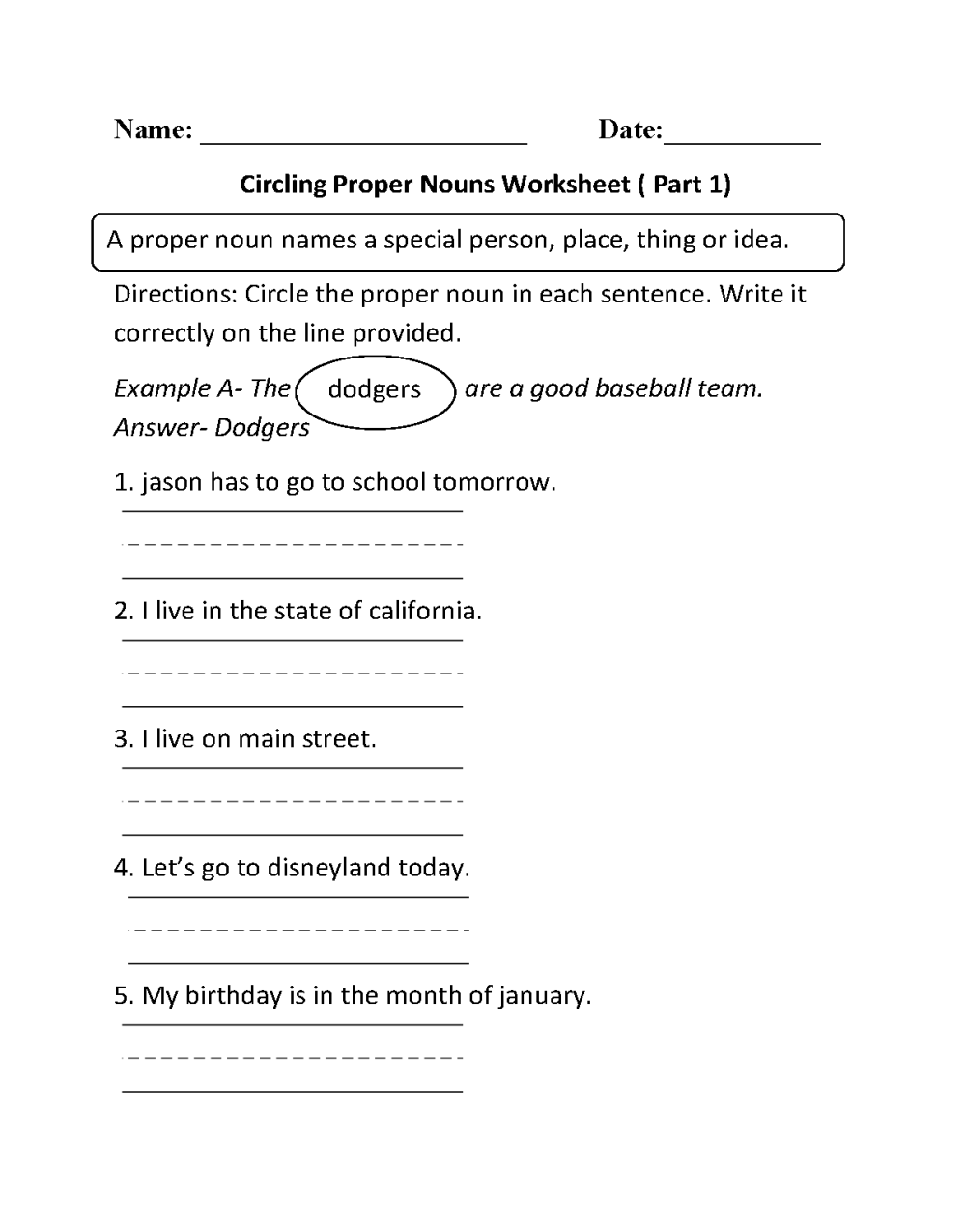 medium resolution of Proper and Common Nouns Worksheets   Circling Proper Nouns Worksheet Part 1