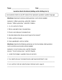 Englishlinx.com | Quotation Marks Worksheets