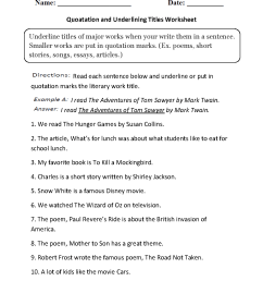 Grammar Mechanics Worksheets   Italics and Underlining Worksheets [ 1331 x 1012 Pixel ]