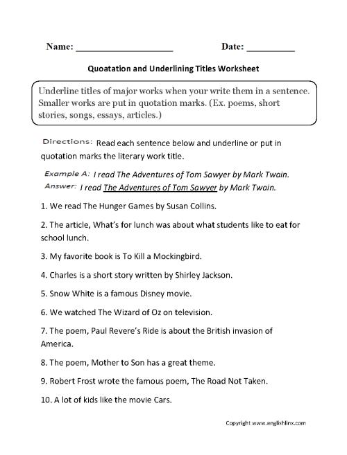 small resolution of Grammar Mechanics Worksheets   Italics and Underlining Worksheets