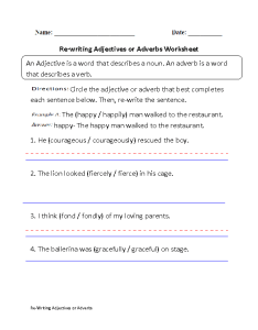 Adjectives or adverbs worksheet part also worksheets rh englishlinx
