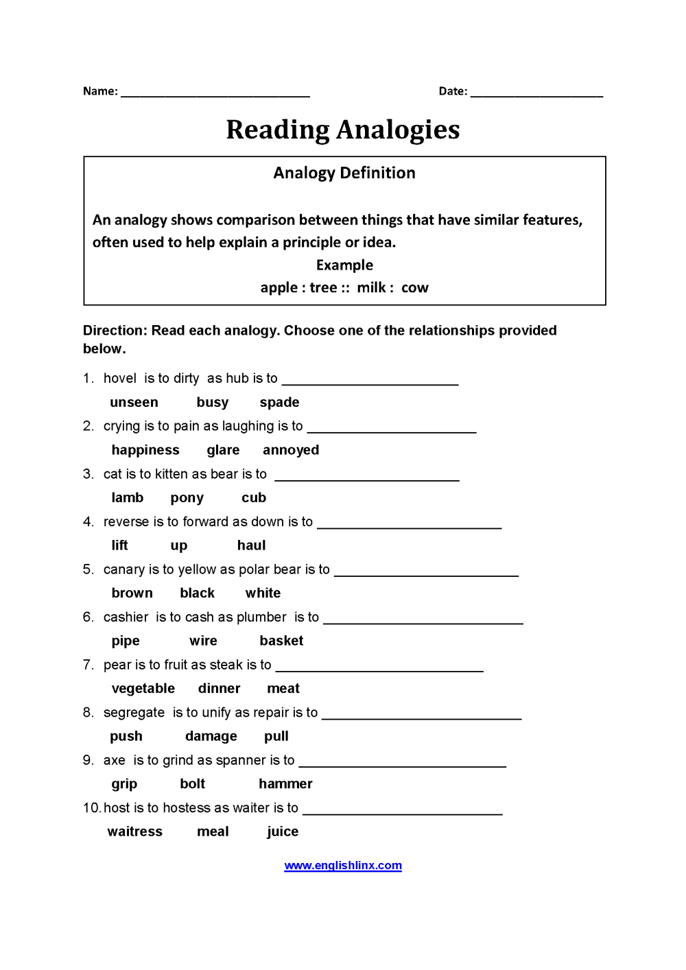 medium resolution of Englishlinx.com   Analogy Worksheets