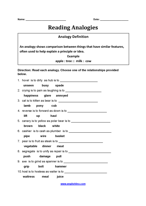 small resolution of Englishlinx.com   Analogy Worksheets