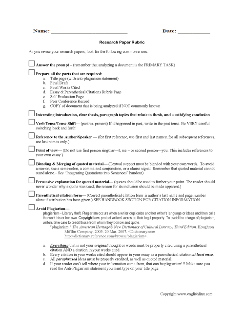 small resolution of Research Worksheets   Research Paper Rubric Worksheet