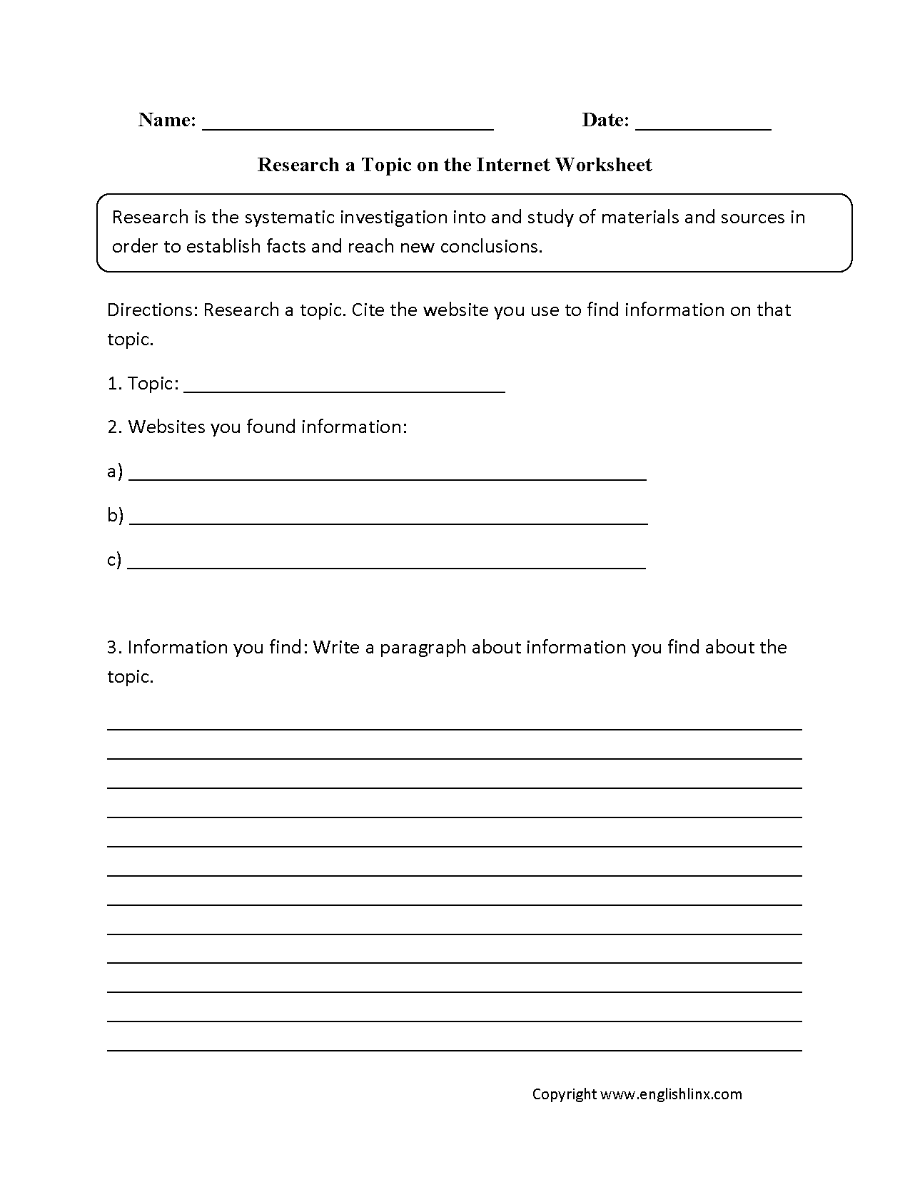 hight resolution of Englishlinx.com   Research Worksheets