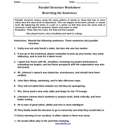 Parallel Structure Worksheets   Rewriting Sentences Parallel Structure  Worksheets [ 2200 x 1700 Pixel ]