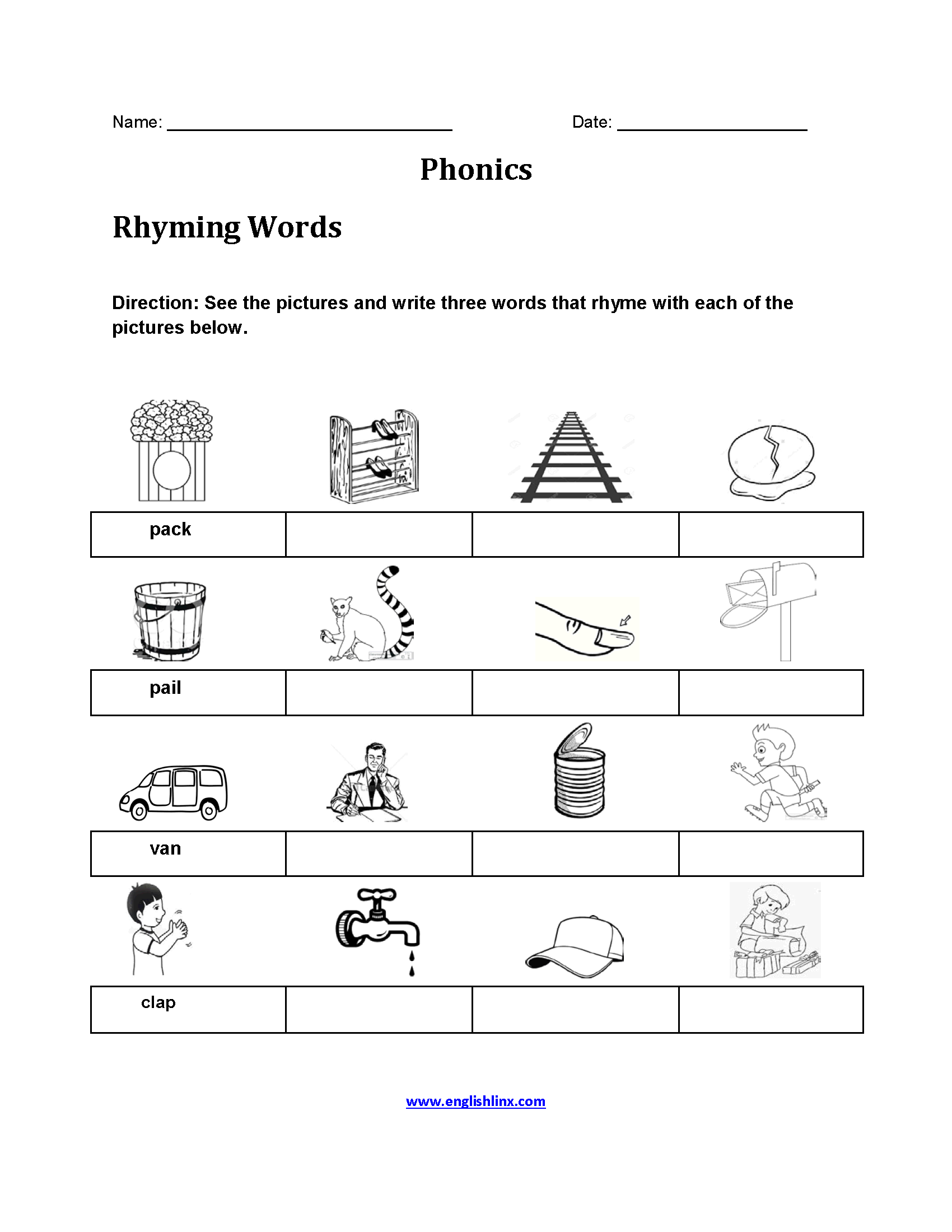Rhyming Word Activity Printable Worksheet