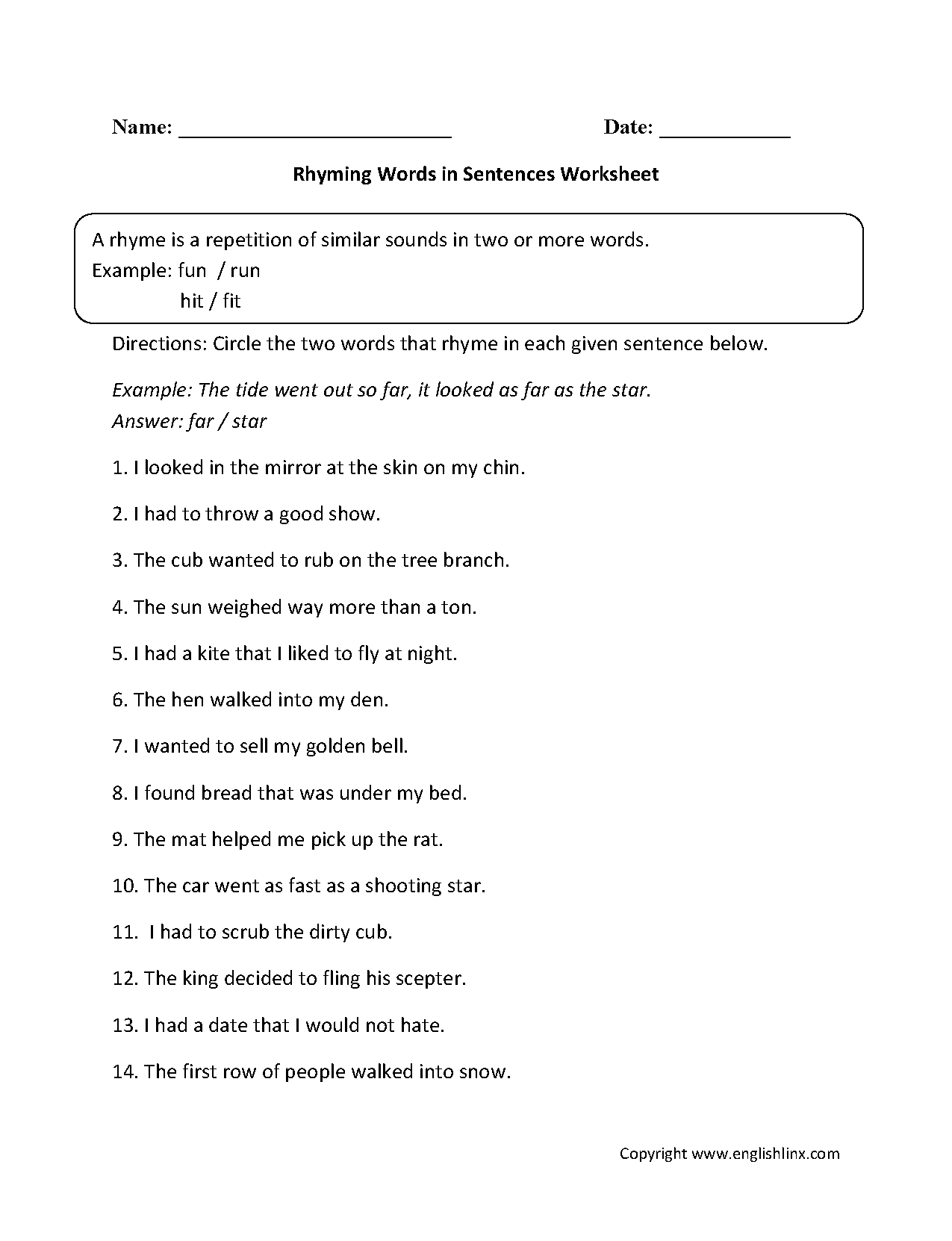 hight resolution of Englishlinx.com   Rhyming Worksheets
