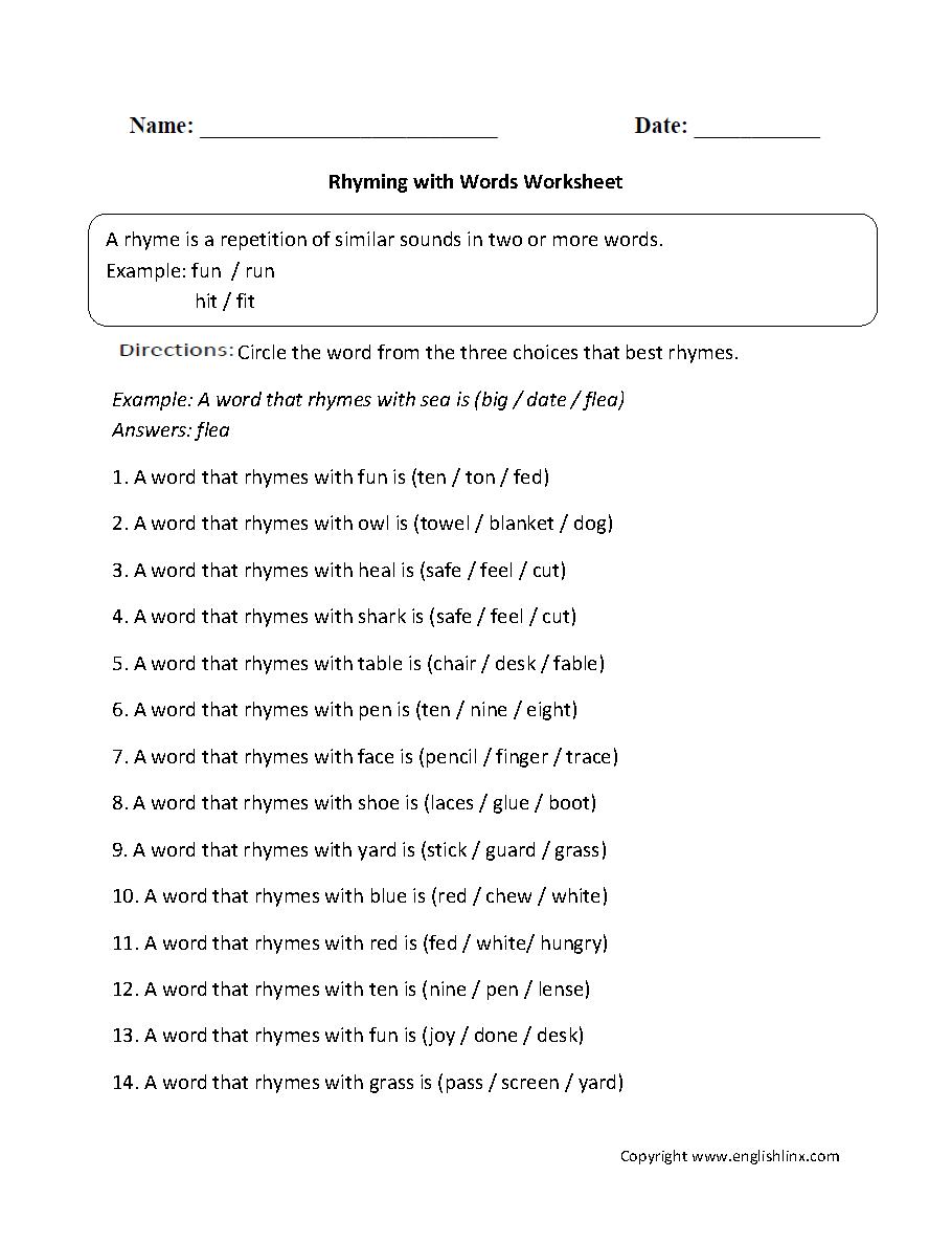 medium resolution of Englishlinx.com   Rhyming Worksheets