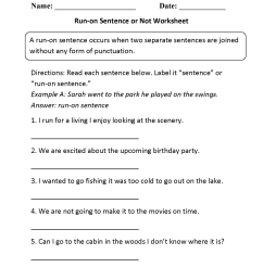 Run on Sentences Worksheets   Run on Sentence or Not Worksheet [ 2200 x 1700 Pixel ]