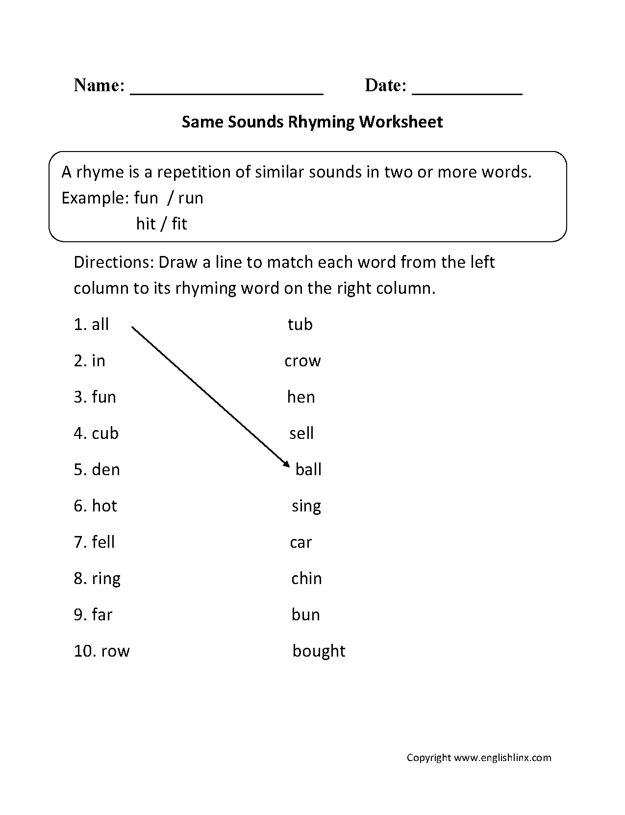 hight resolution of Rhyming Worksheets   Same Sounds Rhyming Worksheets