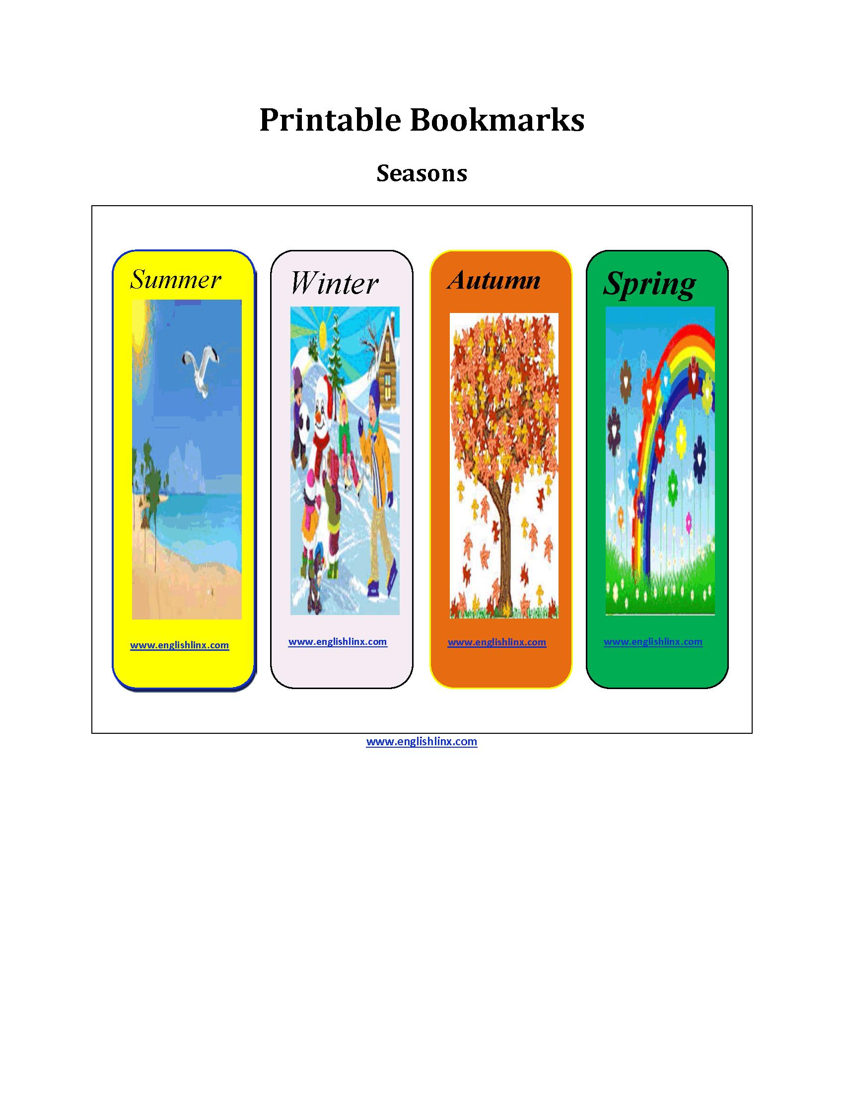 Printable Bookmarks Worksheets
