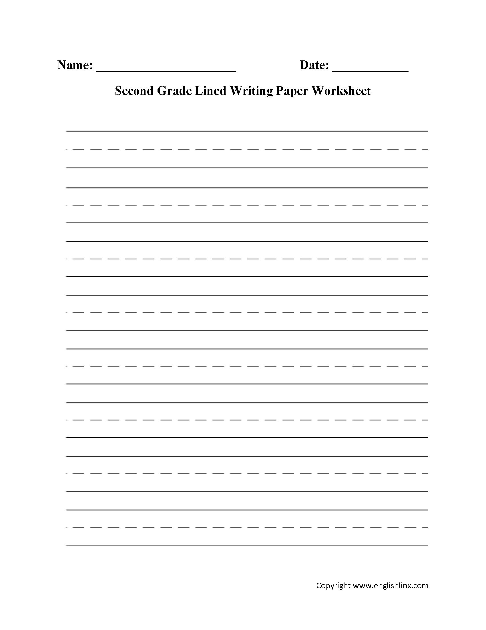 hight resolution of Second Grade Blank Writing Worksheet   Printable Worksheets and Activities  for Teachers