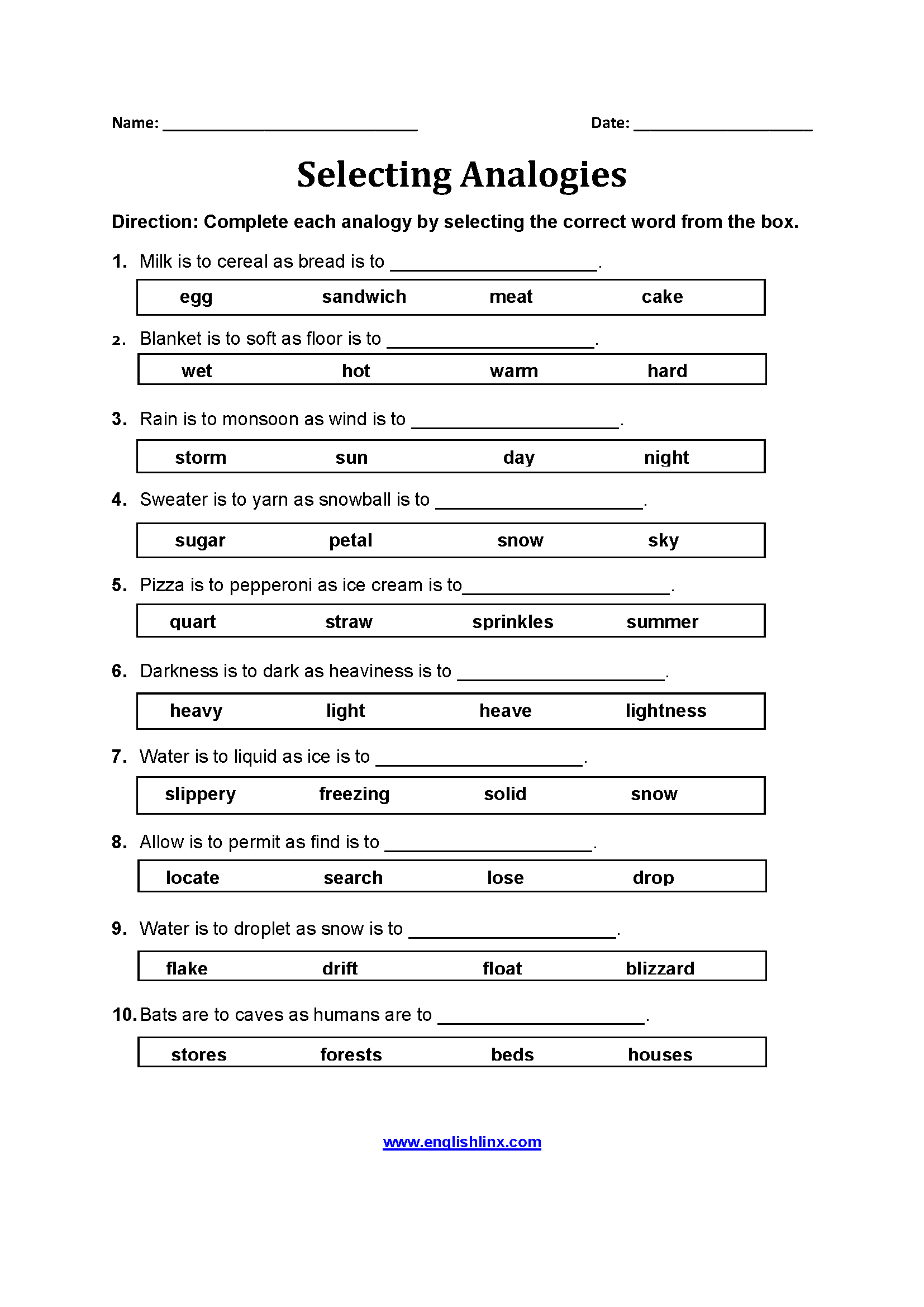 hight resolution of Englishlinx.com   Analogy Worksheets
