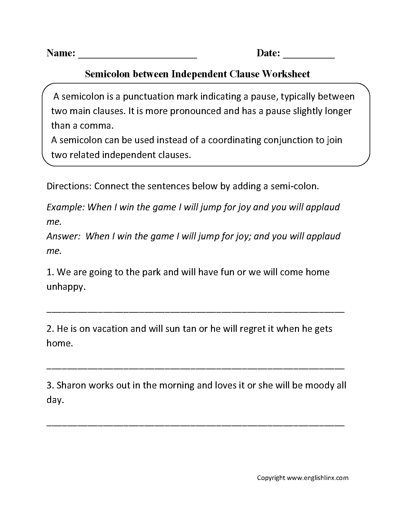 hight resolution of Commas And Semicolons Worksheet - Promotiontablecovers