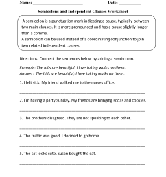 Punctuation Worksheets   Semicolon Worksheets [ 1662 x 1275 Pixel ]