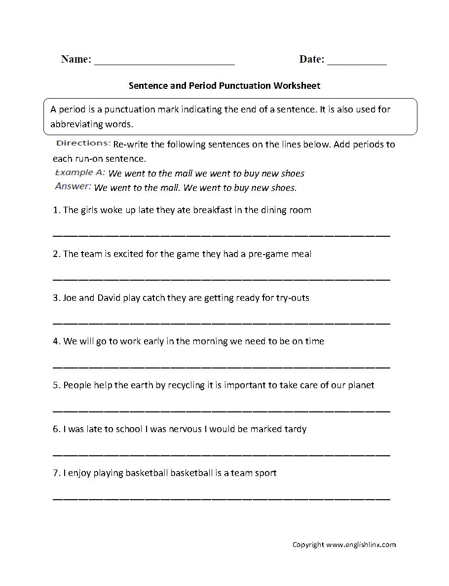 medium resolution of Punctuation Worksheets   Ending Punctuation Worksheets