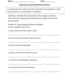 Compound Words Worksheets   Separating Compound Words Worksheets [ 1662 x 1275 Pixel ]