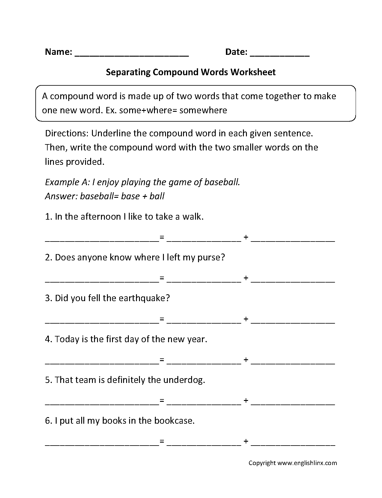 hight resolution of Compound Words Worksheets   Separating Compound Words Worksheets