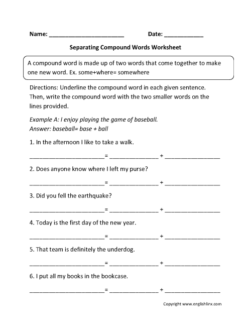 small resolution of Compound Words Worksheets   Separating Compound Words Worksheets
