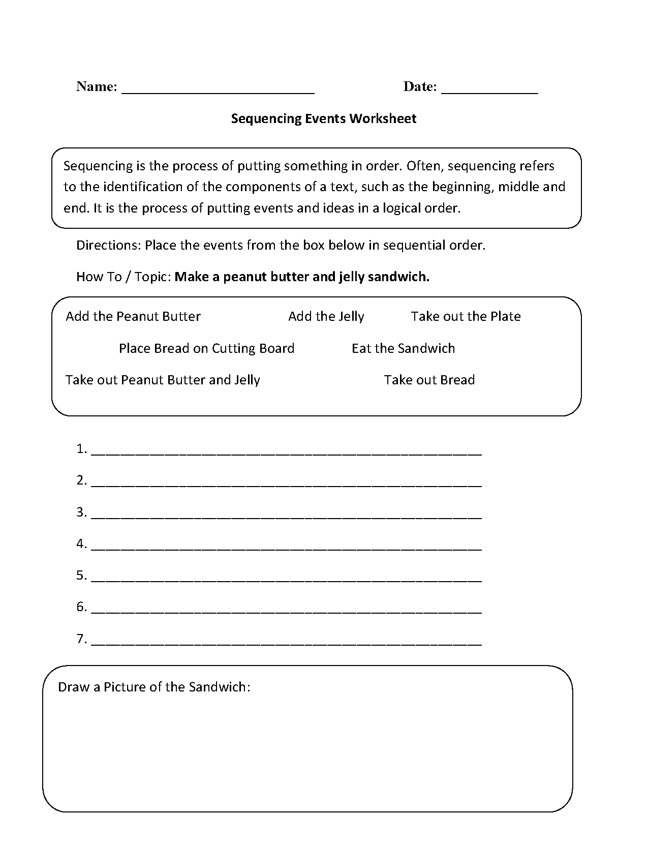 Worksheets Sequence Of Events Worksheet Babyhunters Free