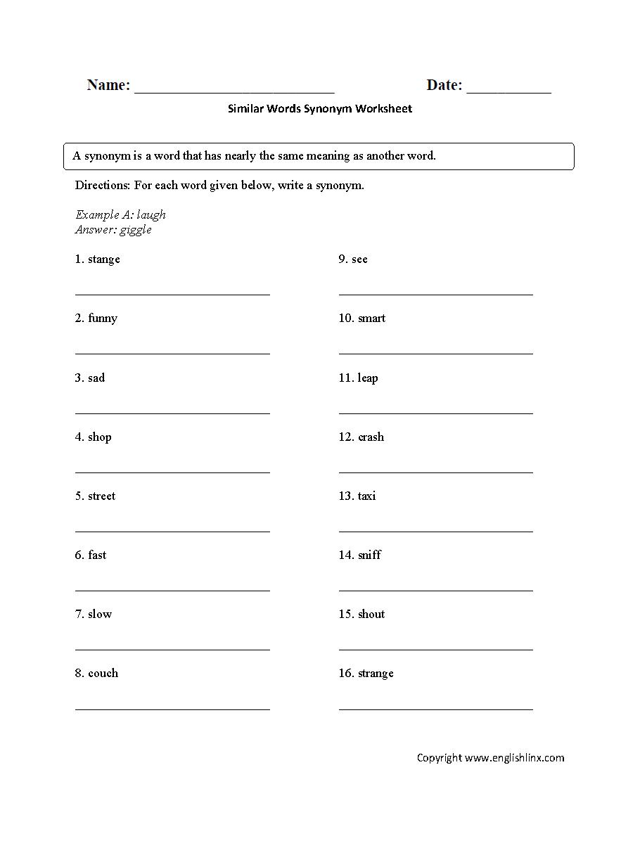 hight resolution of Vocabulary Worksheets   Synonym and Antonym Worksheets