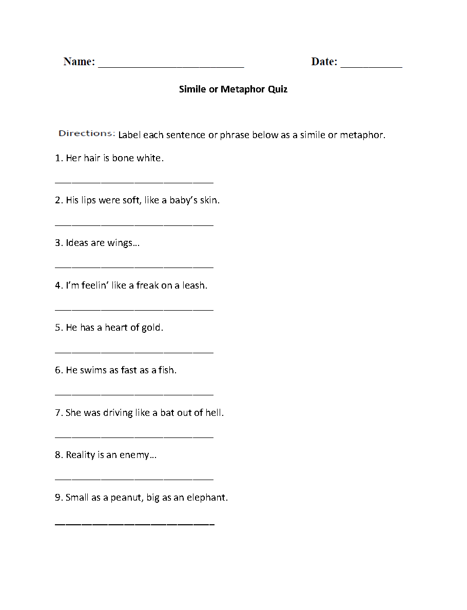 hight resolution of Metaphor Homework Help - What is a metaphor? Can you give some examples?