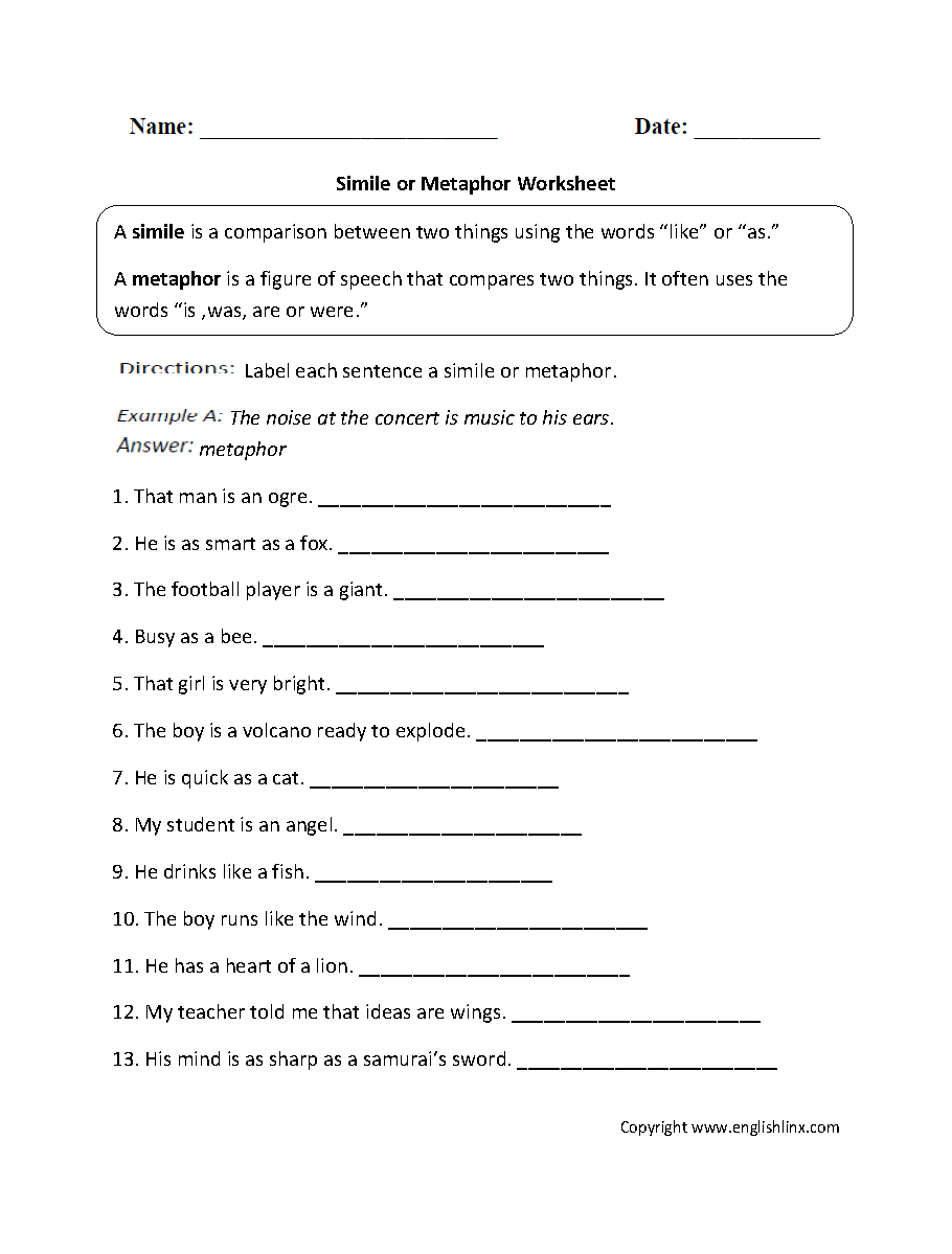 hight resolution of Figurative Language Worksheets   Simile Worksheets