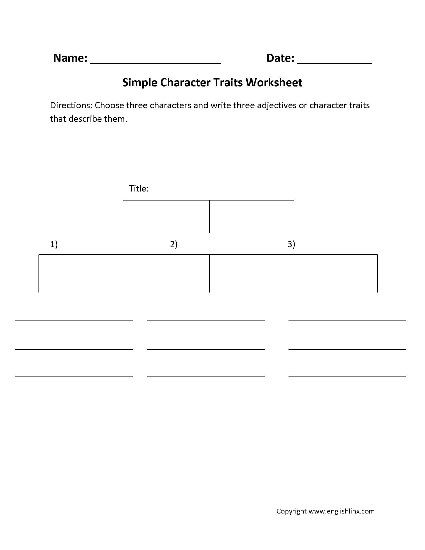 Character Trait Worksheet High School