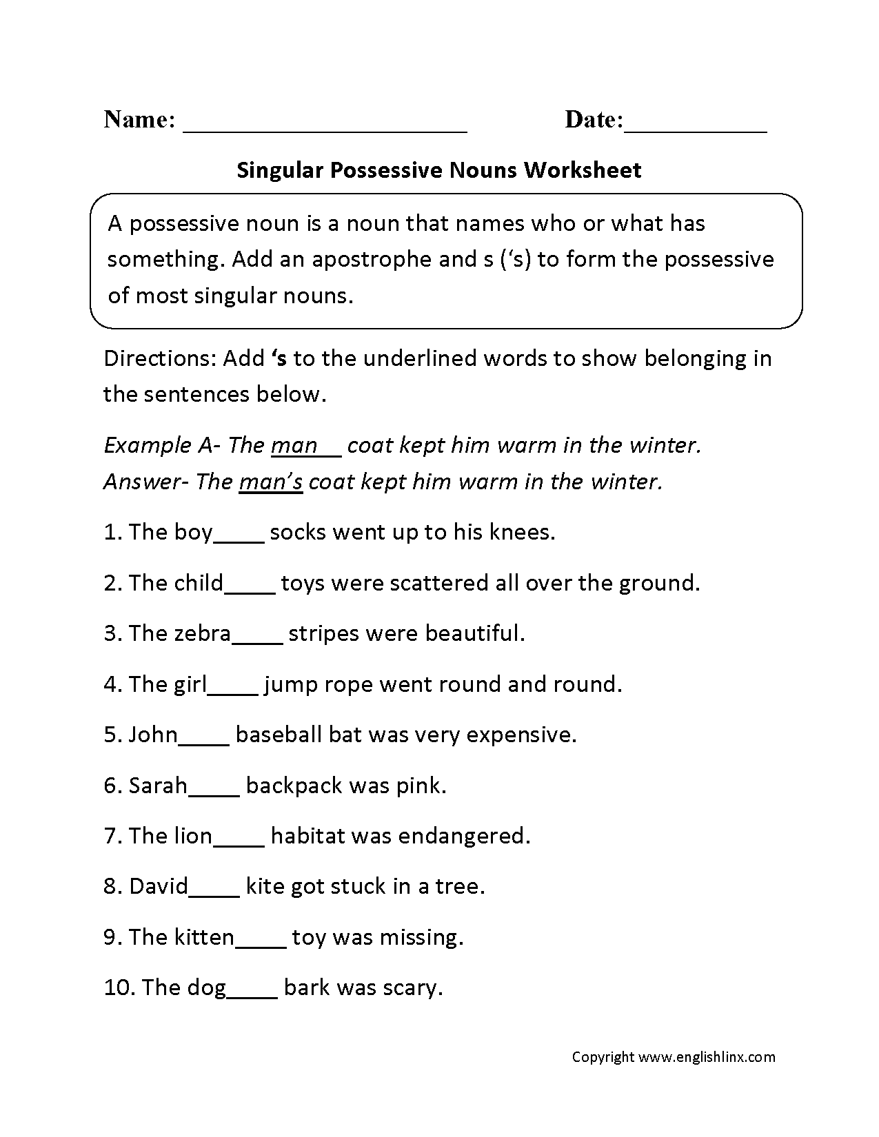 Singular Possessive Noun Practice Worksheets